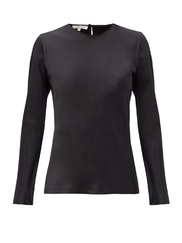 La Collection Cybele Silk-charmeuse Long-sleeved Blouse In Black