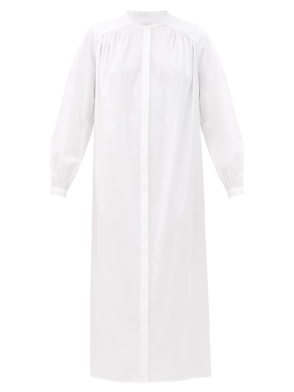 La Collection Bea Cotton-blend Poplin Midi Shirt Dress In White