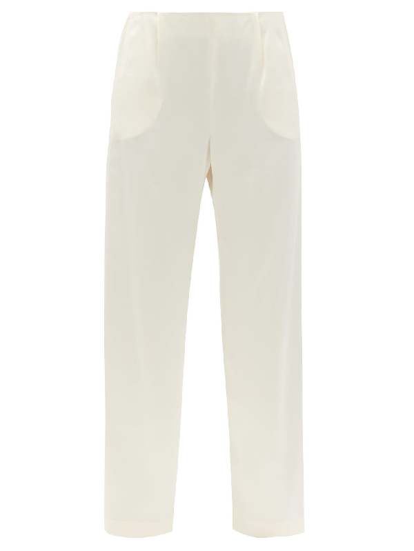 La Collection Calypso High-rise Silk Wide-leg Trousers In Ivory