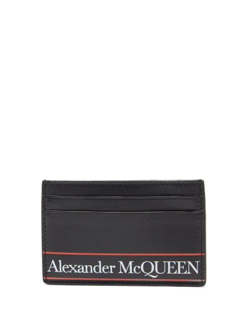 Alexander Mcqueen Black Logo-print Leather Card Holder