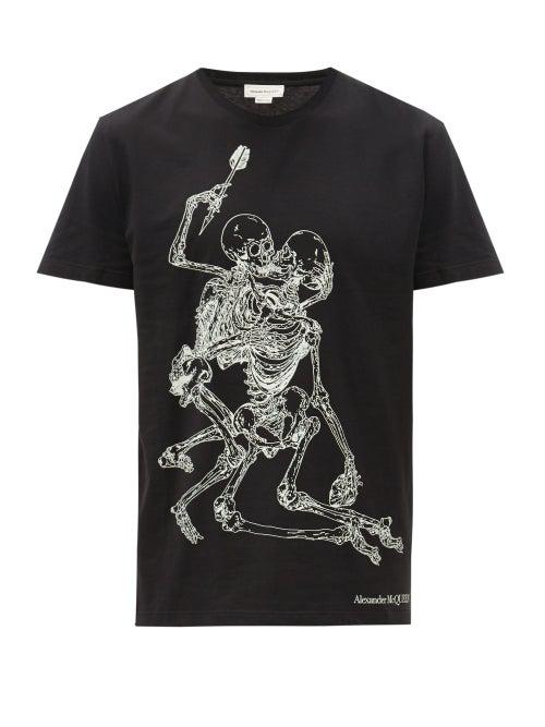 Alexander Mcqueen Lovers Skeleton-print Cotton T-shirt In Black