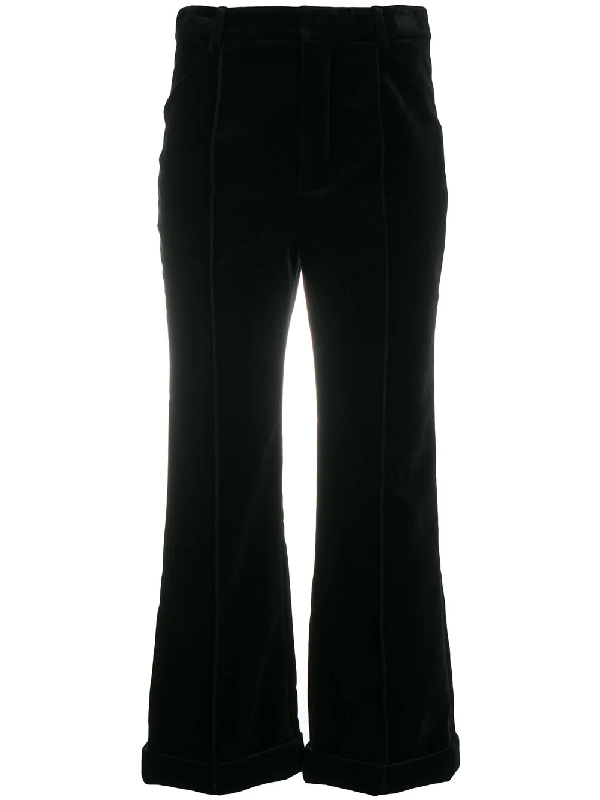 Saint Laurent Cropped Tailored Trousers In Black