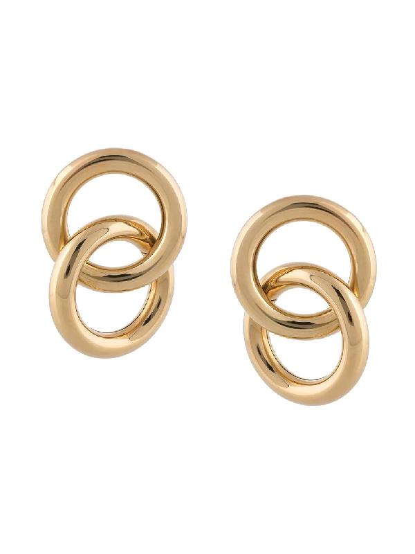 Laura Lombardi Interlock Hoop Earrings In Gold