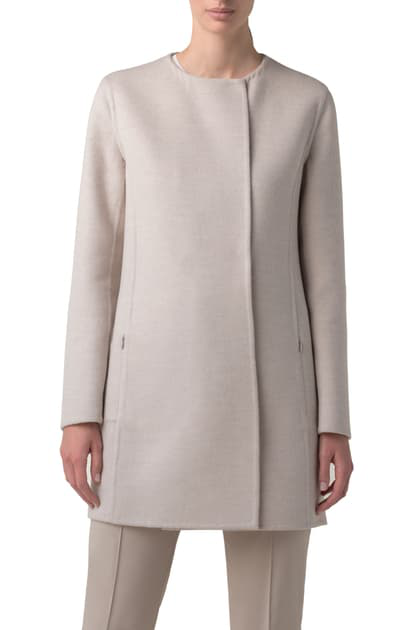 Akris Madrisa Reversible Double Face Wool & Cashmere Coat In Beige