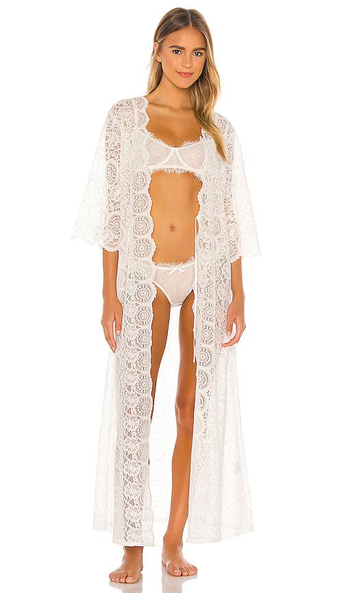 Homebodii Brigitte Lace Robe In White