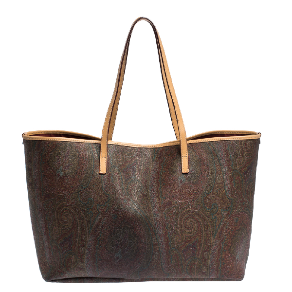 Etro Brown Paisley Printed Coated Canvas And Leather Shopper Tote