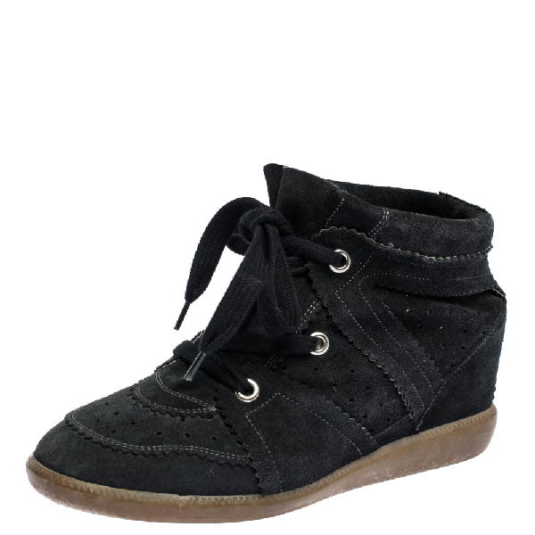 Isabel Marant Dark Blue Suede Bobby Wedge Sneakers Size 41
