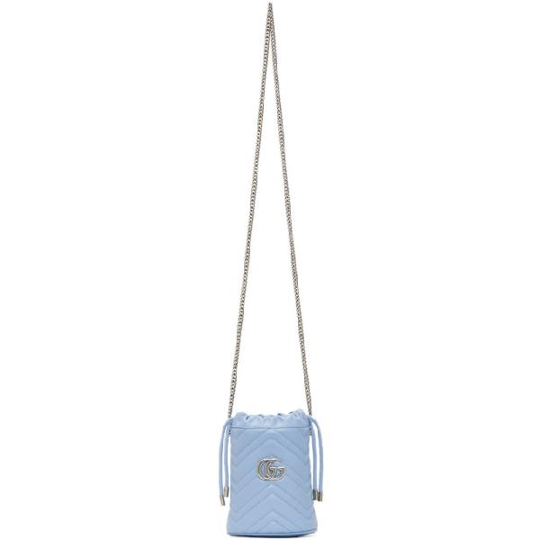 Gucci Mini Gg Marmont 2.0 Leather Bucket Bag In 4928 Lt Blu