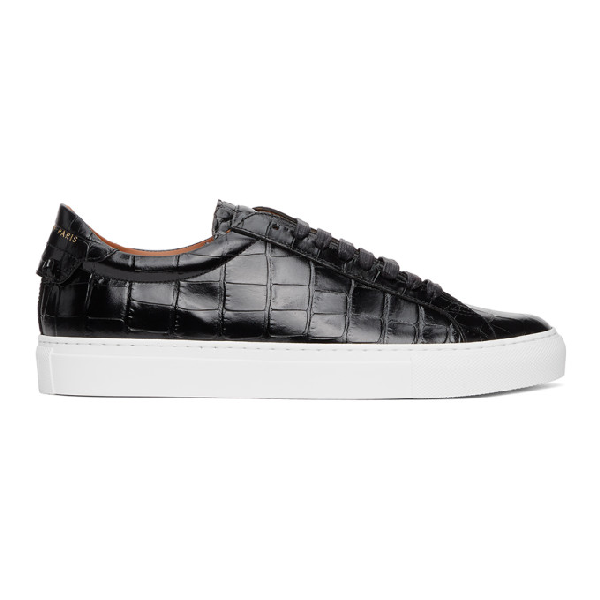 Givenchy Black Croc Embossed Urban Street Sneaker In 001-black
