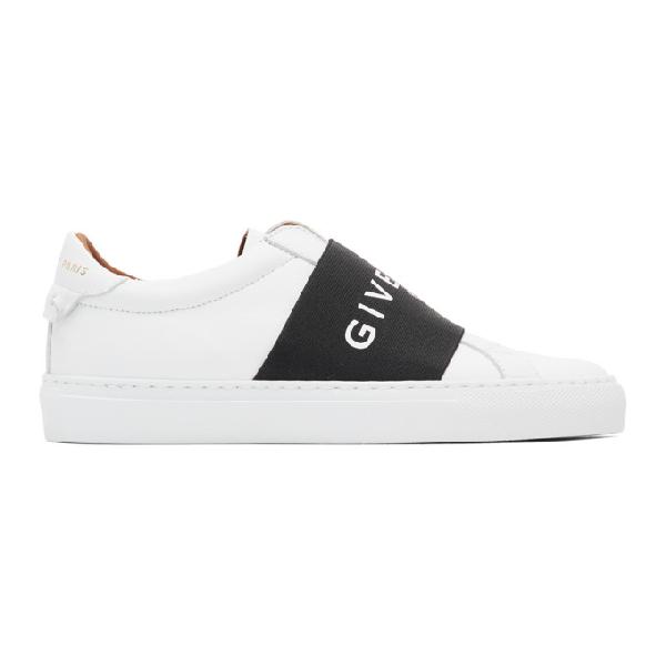 Givenchy Urban Street Logo-print Leather Slip-on Sneakers In White/black