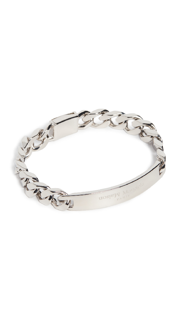 Maison Margiela Logo Sterling Silver Chain Bracelet In Palladio Polished