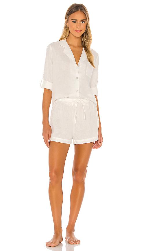 Homebodii Linen Long Sleeve Pj Set In White