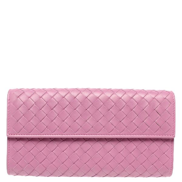 Bottega Veneta Purple Intrecciato Leather Fumi Continental Wallet