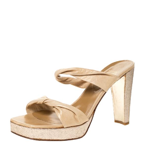 Stuart Weitzman Beige Twist Leather And Silver Glitter Platform Slide Sandals Size 39.5