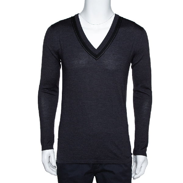 Dior Homme Charcoal Grey Silk & Wool Blend V Neck Sweater Xs