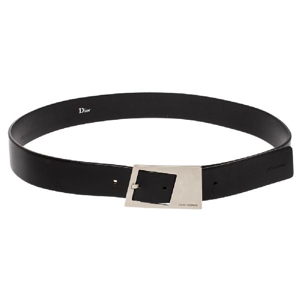 Dior Homme Black Leather Square Buckle Belt 90cm