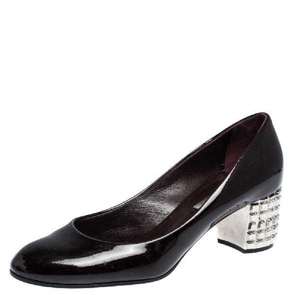 Casadei Dark Burgundy Patent Leather Block Metal Heel Pumps Size 36