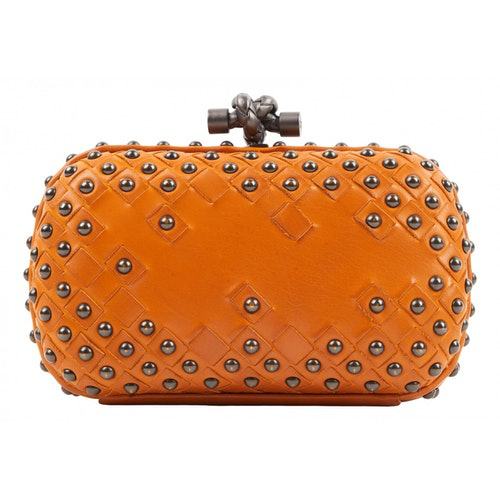 Bottega Veneta Pochette Knot Camel Leather Clutch Bag