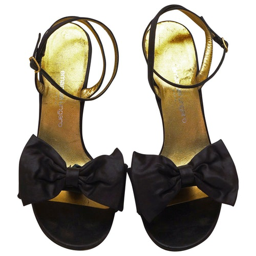 Emanuel Ungaro Black Cloth Sandals