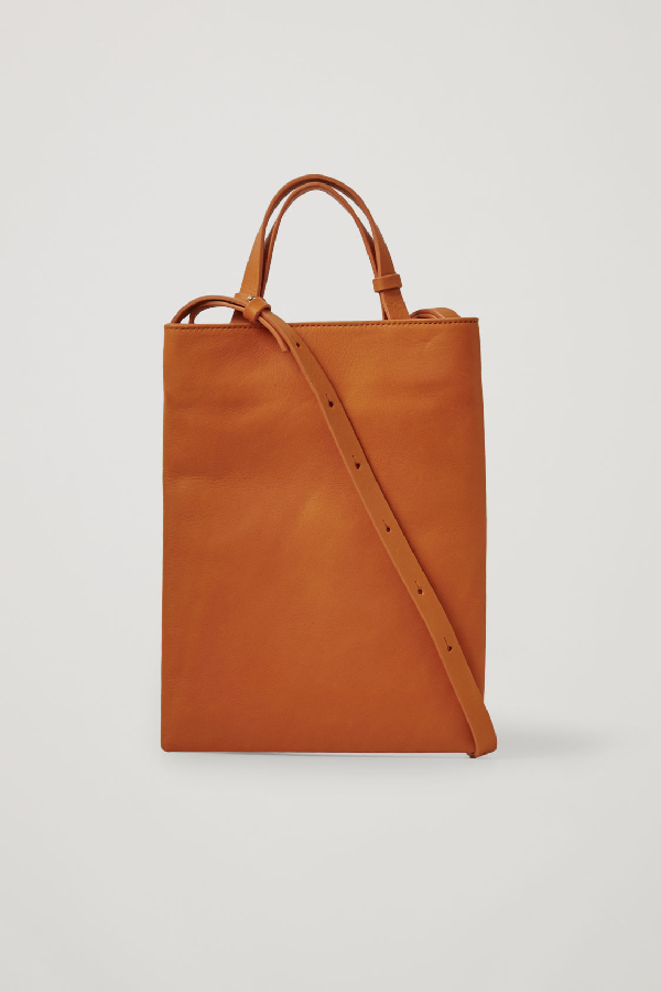 Cos Mini Leather Tote In Orange