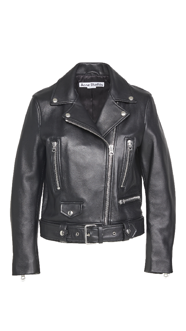 Acne Studios Black Leather Outerwear Jacket
