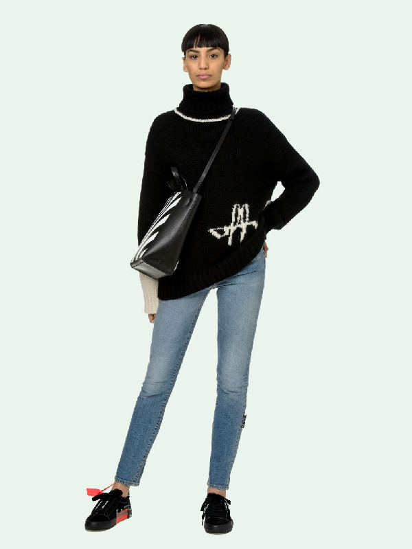 Off-white Intarsia Script Logo Alpaca Blend Turtleneck Sweater In Black