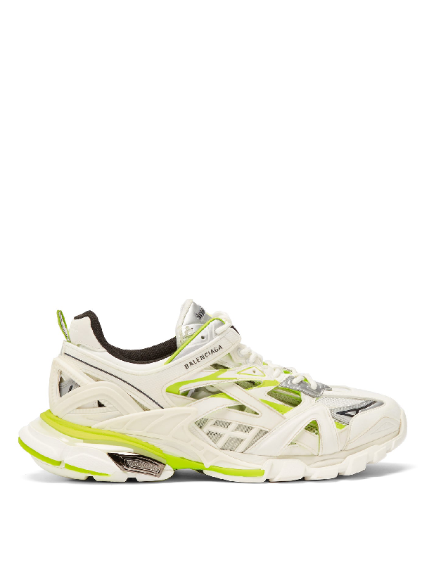 Balenciaga Track 2 Leather And Mesh Trainers In White