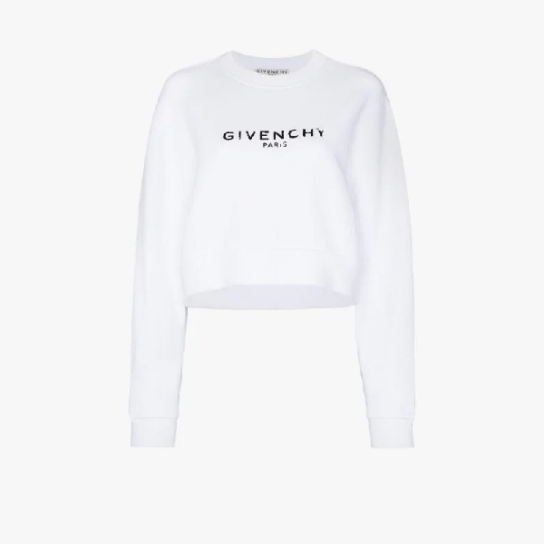 Givenchy Oversized Distressed-logo Cotton-jersey Sweatshirt In White