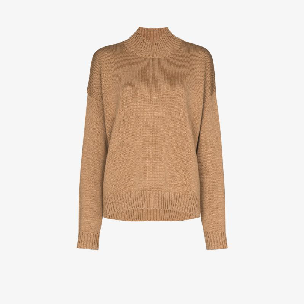 Ganni Mock Neck Merino Wool Sweater In Brown