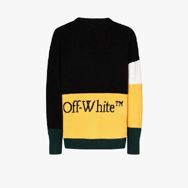 Off-white Wool Logo Colorblock Sweater Black/yellow