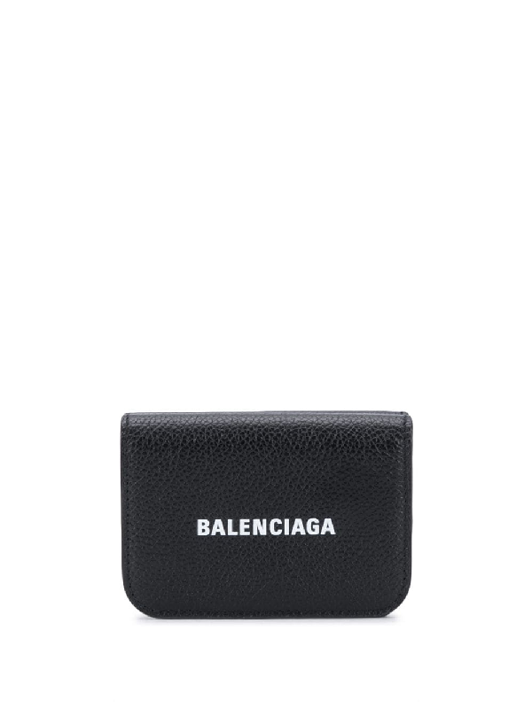 Balenciaga Logo-print Mini Grained-leather Wallet In Black
