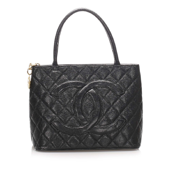 Chanel Caviar Medallion Leather Tote Bag In Black