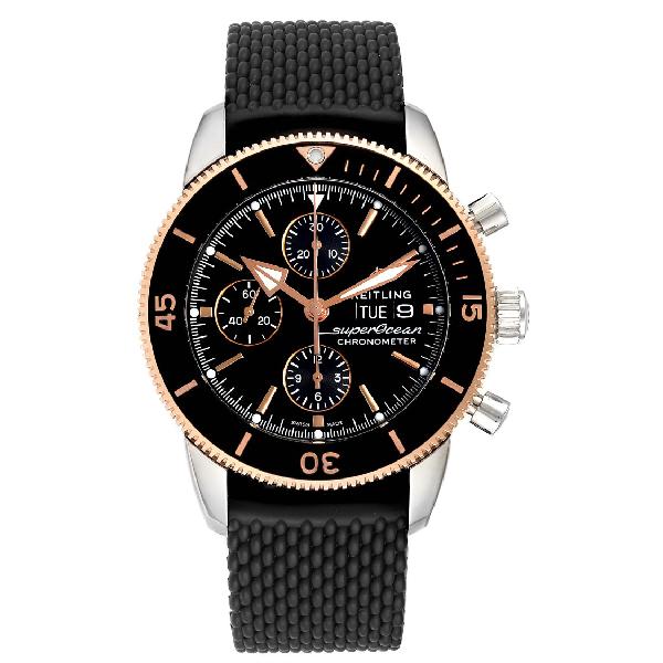 Breitling Superocean Heritage Ii Steel Rose Gold Watch U13313 Box Papers In Black