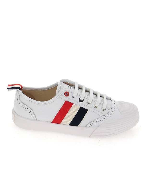 Thom Browne Low Top Brogued Trainer Sneaker In White