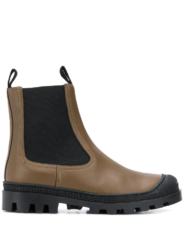 Loewe Rubber-trimmed Leather Chelsea Boots In Brown
