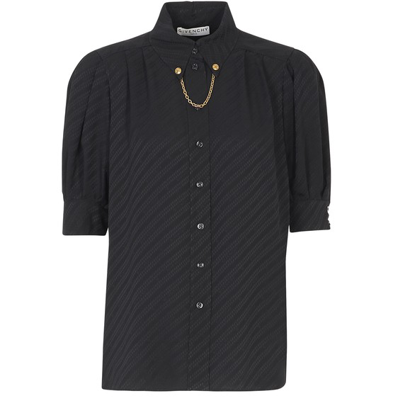 Givenchy Black Silk Shirt Featuring Chain In Noir