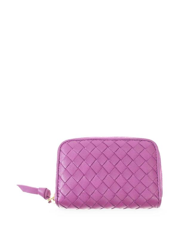 Bottega Veneta Intrecciato Weave Zip-around Wallet In Purple