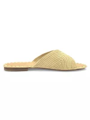 Carrie Forbes Naturel Raffia Slide Sandals In Natural