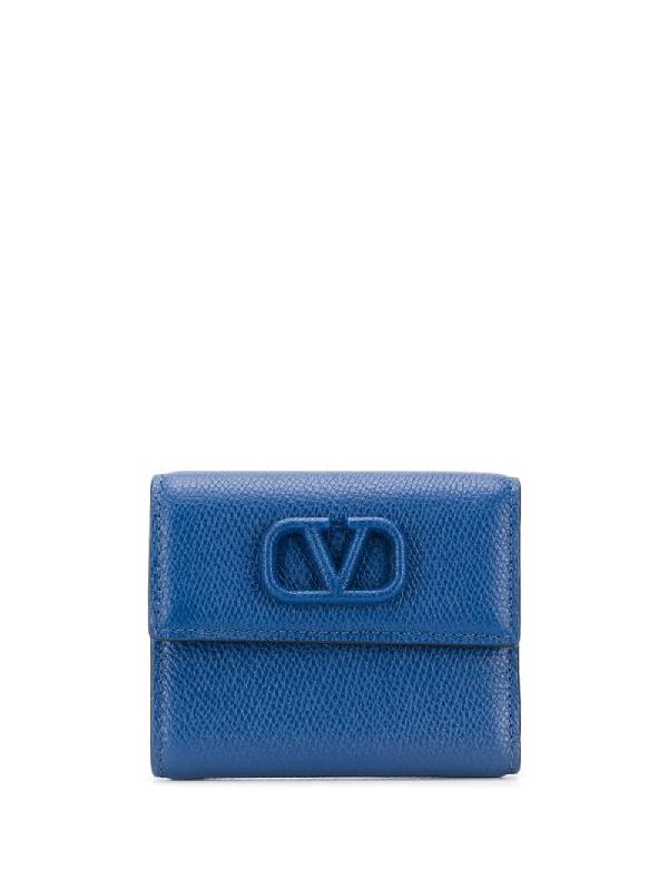 Valentino Garavani Small Vsling Wallet In Blue