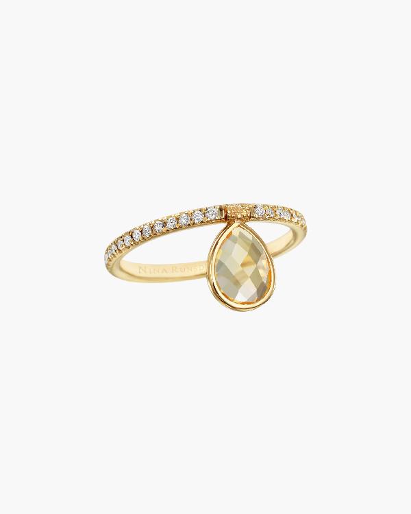 Nina Runsdorf Mini Citrine Flip Ring In Yellow Citrine