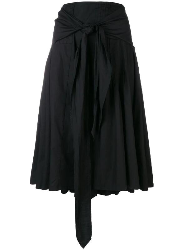 Dries Van Noten Belted Pleated Skirt In Black
