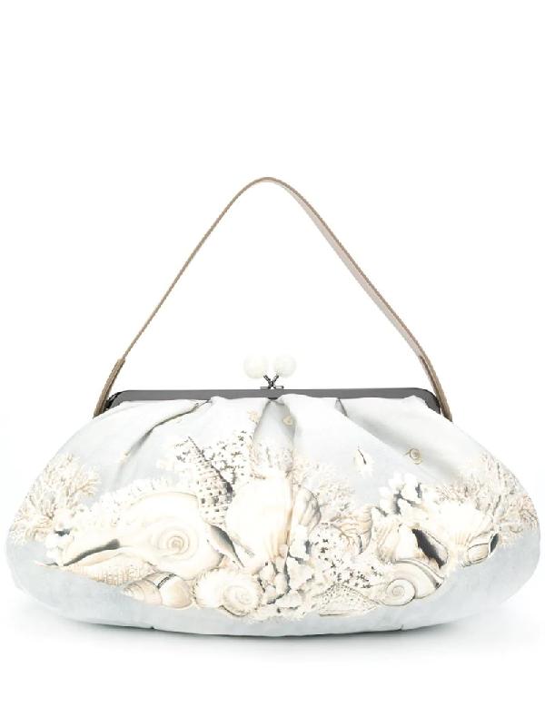 Weekend Max Mara Shell Print Shoulder Bag In Grey