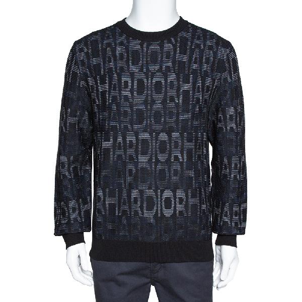 Dior Homme Black Har Patterned Jacquard Wool Blend Pullover L