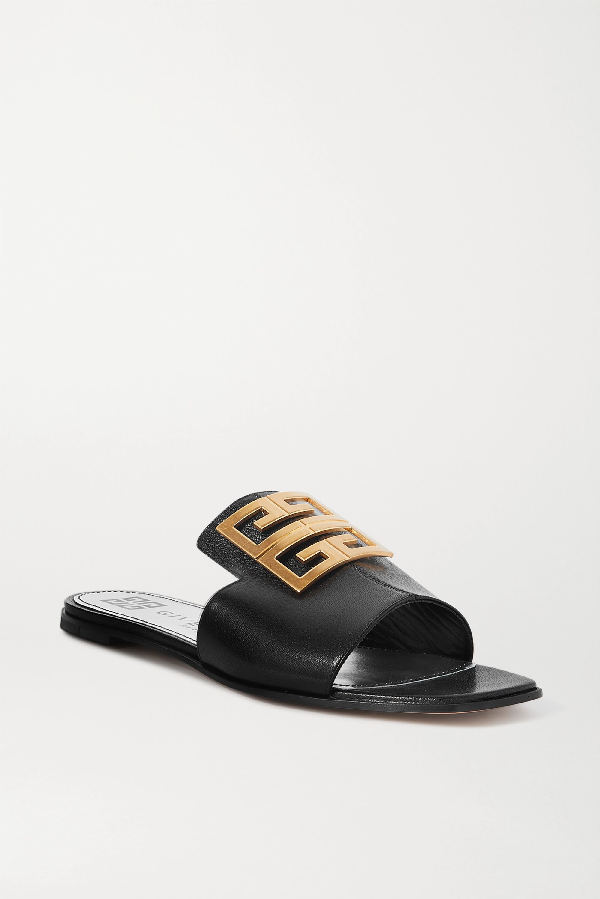 Givenchy 4g Logo-embellished Leather Sandals In Black