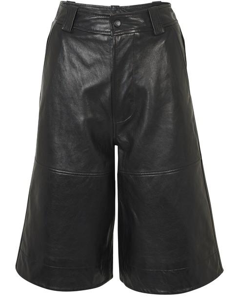 Ganni Lamb Leather Long Shorts In Black
