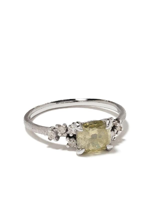 White Bird 18kt White Gold Diamond Aurore V Ring In Yellow/grey