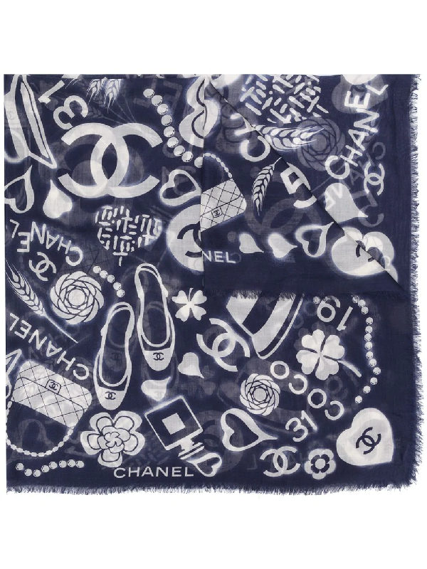 Chanel Motif Print Cashmere-silk Scarf In Blue