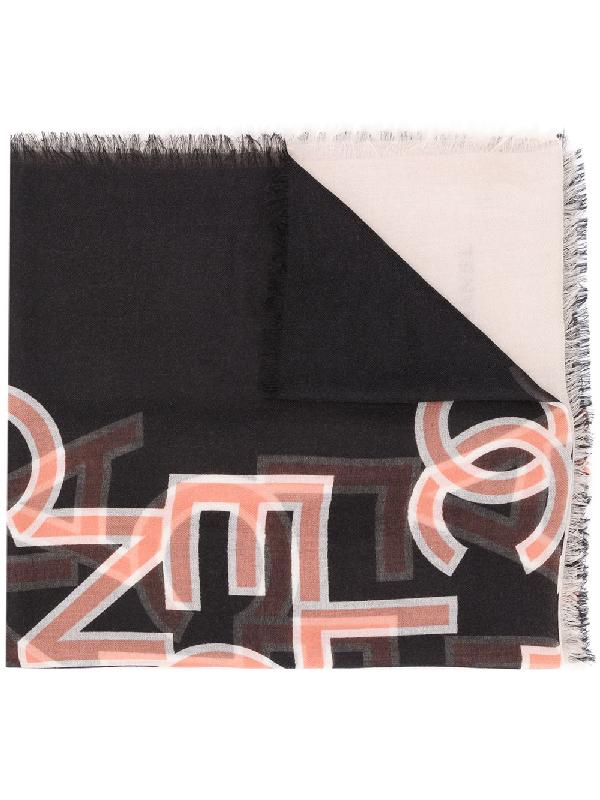 Chanel Logo Print Cashmere Scarf In Black