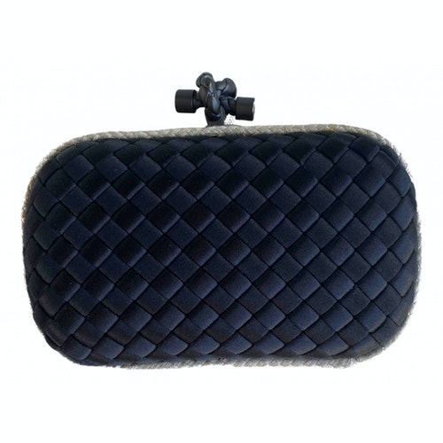 Bottega Veneta Pochette Knot Black Silk Clutch Bag