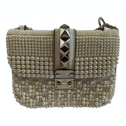 Valentino Garavani Glam Lock White Leather Handbag